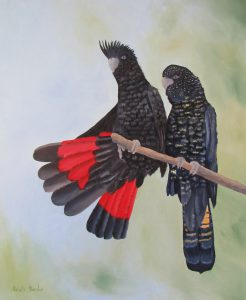 Cockatoos Spreading their Wings , Oil, 66x54cm, $590