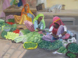 Indian market scene, Oil 90x67cm, $690