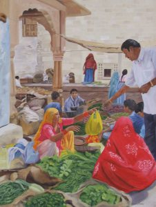 Jaisalmer Markets, Oil 106x87cm, $840
