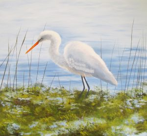 Intermediate Egret bird oil painting