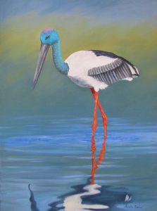 Jabiru bird oil painting