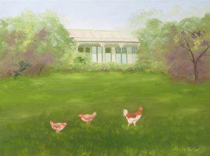 three chooks oil painting
