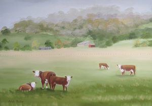 Cows grazing oil painting