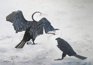 Two Cormorants oil painting