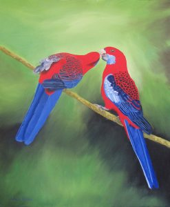 oil painting of crimson rosellas