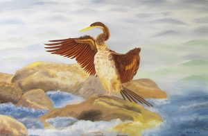 oil painting of darter drying out