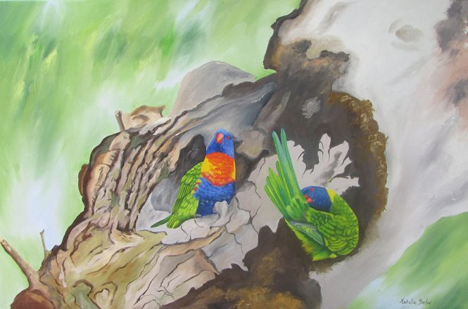 Rainbow Lorikeets on tree stump, oil, 86x60cm, $590